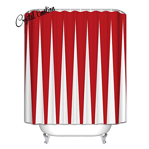 red and white shower curtain - 1