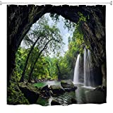 nature shower curtains Nature Waterfall Shower Curtain Set, Summer Cave in Waterfall National Park Thailand Forest Jungle Rocky Scene Bath Curtain, Landscape Polyester Waterproof Fabric Bathroom Decor Set,72x72 Inch