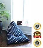 MiniOwls TOY STORAGE BEAN BAG COVER – fits 100L/26 gal – Stuffed Animal Organizer in NAVY with white stars – Soft & Comfy Cover that Creates Cozy Lounger Bed – (Also comes in LG & GRAY)