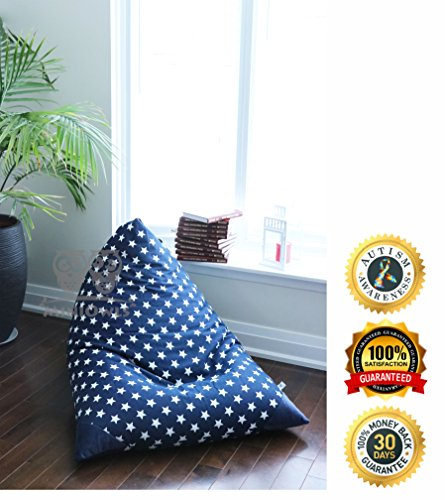 MiniOwls TOY STORAGE BEAN BAG COVER - fits 100L/26 gal - Stuffed Animal Organizer in NAVY with white stars - Soft & Comfy Cover that Creates Cozy Lounger Bed – (Also comes in LG & GRAY)