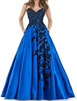 BessDress Sweetheart Lace Applique Prom Dresses 2018 With Pockets Long Satin Evening Party Ball Gown BD424