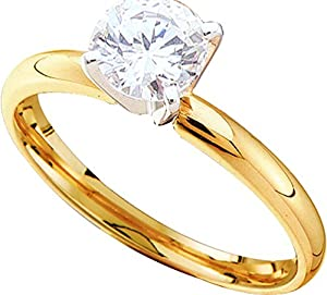 14kt Yellow Gold Womens Round Diamond Solitaire Bridal Wedding Engagement Ring 7/8 Cttw