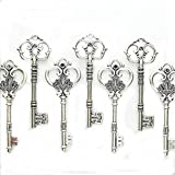 Makhry Mixed Set of 20 Extra Large Antique Silver Finish Skeleton Keys in Antique Style ( Silver)