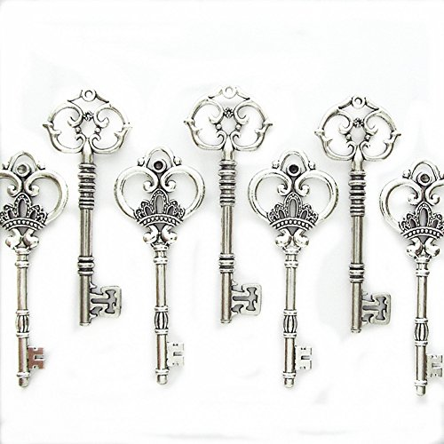 Makhry Mixed Set of 20 Extra Large Antique Silver Finish Skeleton Keys in Antique Style ( Silver) by Makhry