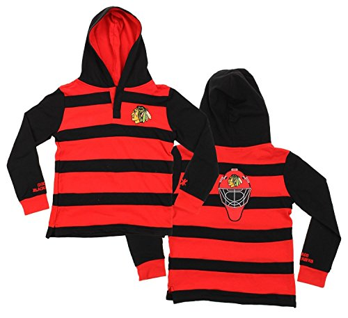 Klew NHL Big Boys Youth Striped Rugby Pullover Shirt, Various Teams (Chicago Blackhawks, X-Large (18-20)) ()