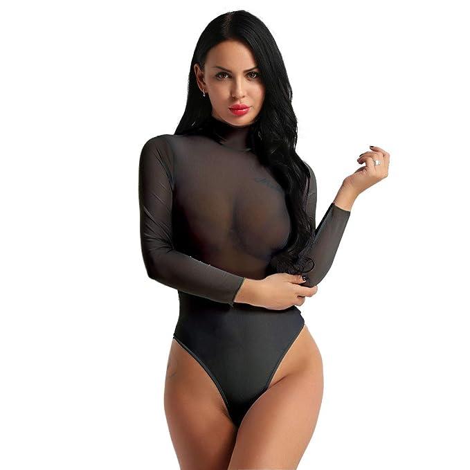 Langarm Body Bodysuit weiss schwarz S M L Damen Einteiler Teddy durchsichtig