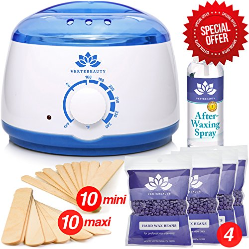 Wax Warmer - Waxing Kit - Hair Removal Wax Kit - Hard Wax Beans - Hot Hard Scented Wax Warmers Electric Kit for Women - Brazilian Eyebrow Home Body Waxing Kits - Prime Hair Remover (Waxing Kit Easy Brazilian)