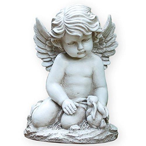 Sitting Cherub with Bunny Rabbit 9 Inch Resin Decorative Indoor Outdoor Garden Statue Figurine ()
