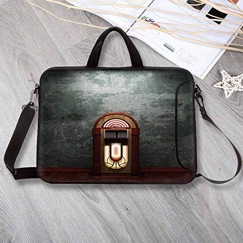 Jukebox Anti-Seismic Neoprene Laptop Bag,Scary Movie Theme Old Abandoned Home with Antique Old Music Box Laptop Bag for Travel Office School,17.3
