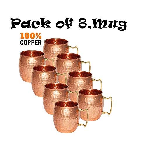 8のセットDungriインドソリッド銅ハンマーMoscow Muleバレルマグ100 % Pure Copper B07BK5QSY5