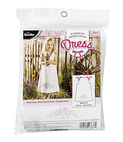 Bucilla Stamped Embroidery Dress Kit, 20 by 30-Inch, 47673 Floral Swag
