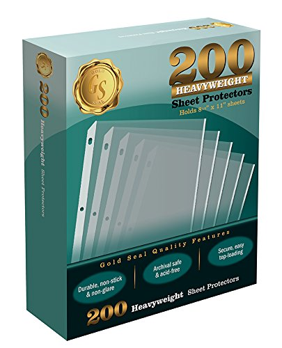200/Box Clear Heavyweight Poly Sheet Protectors by Gold Seal, 8.5'' x 11'' by Gold Seal