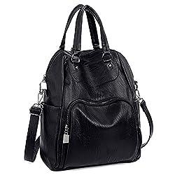Uto Women Backpack Purse Pu Washed Leather Convertible Ladies Rucksack Crossbody Shoulder Bag B Black