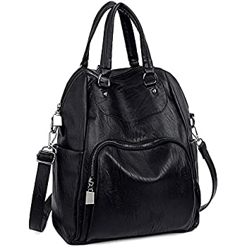 UTO Women Backpack Purse PU Washed Leather Convertible Ladies Rucksack  Crossbody Shoulder Bag B Black 3110a17d70d43