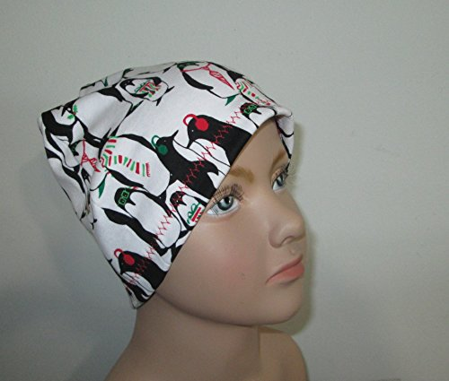 Children's Kids Christmas Penguins Chemo Hat Alopecia Head Cover Cancer Scarf
