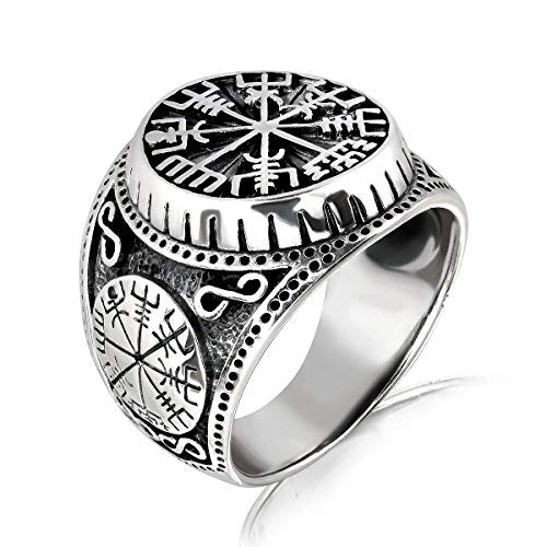 WithLoveSilver Solid 925 Sterling Silver Vegvisir Talisman Celtic Viking Protection Ring (10)