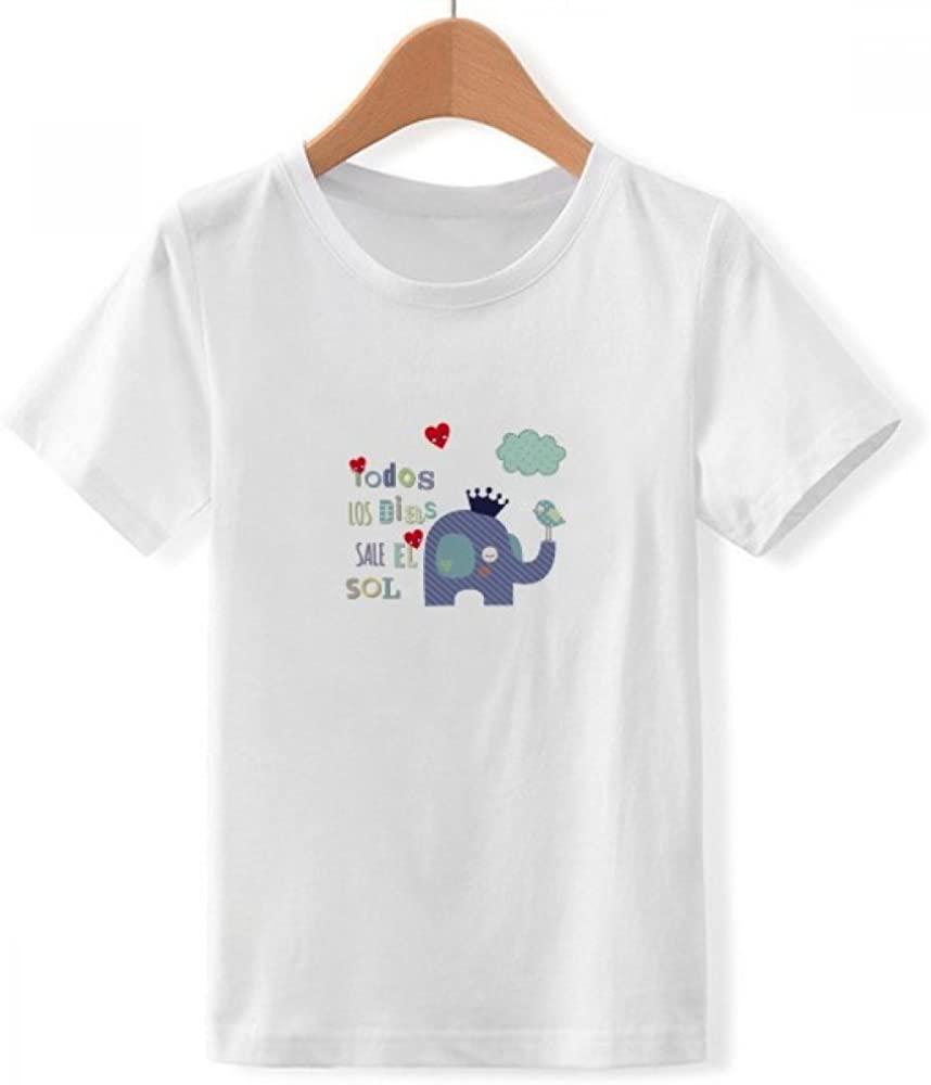 DIYthinker De Dibujos Animados Corona Elefante Nube de Aves de Cuello Redondo Camiseta para Chico: Amazon.es: Ropa y accesorios