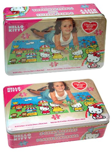 SANRIO Hello Kitty Panorama Tin Puzzle, 3-Pack