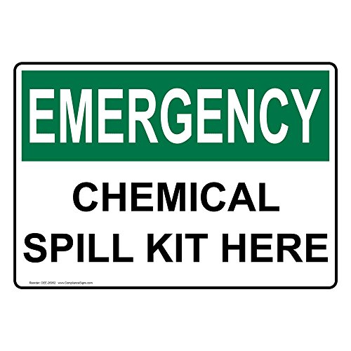 Emergency Spill Kits (ComplianceSigns Aluminum OSHA EMERGENCY Chemical Spill Kit Here Sign, 14 X 10 in. with English Text, White)