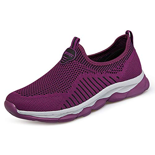(HADM Womens Fashion Slip On Sneakers Lightweight Knit Athletic Walking Shoes Purple Red)