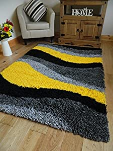 Yellow black silver grey small medium xx large rug new - Small area rugs for living room ...