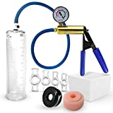 Vacuum Pump LeLuv ULTIMA Including Gauge Bundle with Sleeve, Donut & 4 Sizes of Constriction Rings 9 Inch x 2.25 Inch Cylinder