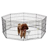 Ollieroo Dog Playpen with Door Exercise Pen Pet Outdoor Indoor Fence Cage 8 Panel Black E-coat Small