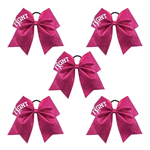Ncmama Fight Breast Cancer Awareness Cheer Bow Glitter Hair Tie Ponytail Holder for Baby Girls Set of 5