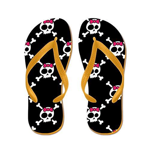 Cafepress Nyckfull Skull & Crossbones W / Bow - Flip Flops, Roliga Rem Sandaler, Strand Sandaler Apelsin
