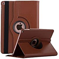 Caseous 360 Rotate Synthetic Leather Flip Cover Case for Apple iPad Air (A1474, A1475, A1476) (Brown)