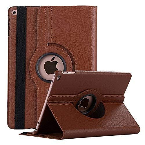 Caseous Synthetic Leather Rotating Flip Cover Case for Apple iPad 9.7 inch 2017/2018  Brown