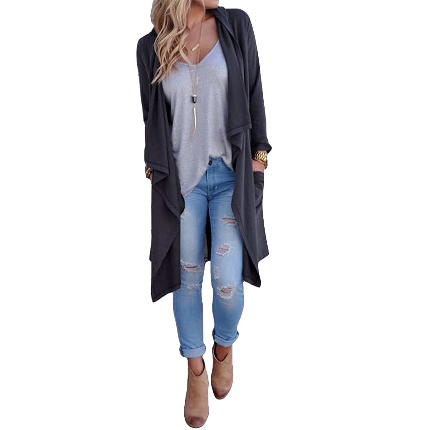 Women's Solid Lightweight Knitted Open Front Long Trench Coat Cardigan