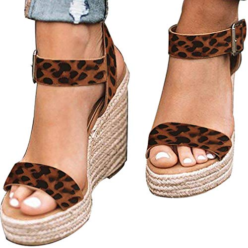XMWEALTHY Women's Wedge Sandals Casual Sandals Shoes Summer Ankle Buckle Open Toe Wedges Heels US Size 7.5 Leopard ()