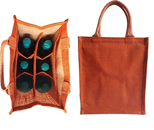 Beer 6 Pack Bottles - KVR Eco Environment Friendly natural Jute burlap wine beer carrier bag (6 bottle bag, Combo-22)