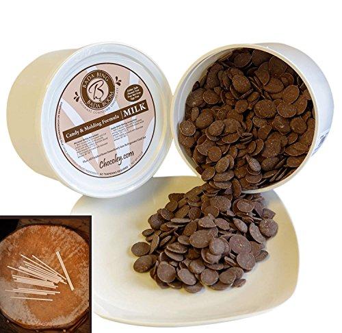 Chocoley Bada Bing Bada Boom Candy & Molding Milk Gourmet Compound Chocolate - 5 Lbs - 2 x 2.5 Pounds Tubs of Milk Chocolate Plus FREE BONUS: 100 Lollipop (Milk Chocolate Lollipop)