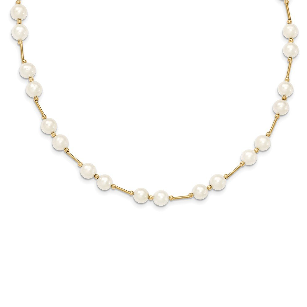 Beautiful Yellow gold 14K 14K 6-7mm White Near Round Freshwater Cultured Pearl Bead Necklace