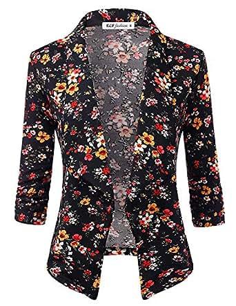 ELF FASHION Women's Lightweight Stretch 3/4 Sleeve Blazer Jacket with Plus Size (Size S~3XL) - Black - 3X Plus