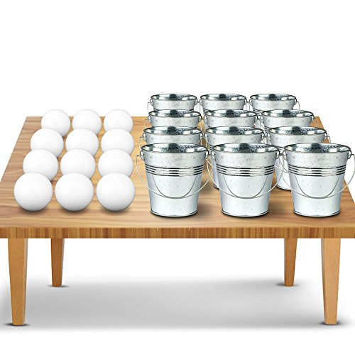 Mini Bucket Ping Pong Ball Game by Gamie | Yard Pong Game | Includes 12 Tiny Metal Buckets, 12 Balls, and 1 Number Sticker Sheet | Fun Party Activity for - Outdoor Art Party