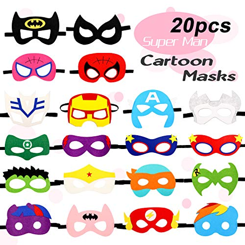 Kitticcino Super Cartoon Heros Party Felt Masks 20 pcs Party Supplies Cosplay Character Mask Party Favors for Kids Boys or Girls]()