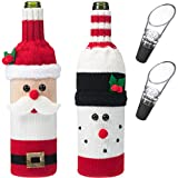 2 Pieces Christmas Wine Bottle Covers, Santa Claus Snowman Pattern Knitted Wine Bag for Christmas Decoration with Extra 2 Pack Acrylic Wine Pourer