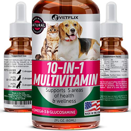 Vetflix Multivitamins for Dogs and Cats - 100% Natural - Pet Vitamins 10 in 1 - Made in USA - Glucosamine for Dogs & Cats - Provides Pet Joint Health - All Ages & Breeds - Omega 3 for Dogs & Cats