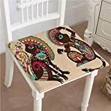 Dining Chair Pad Cushion Indian Ethnic Patterns on a Monkey Tailed Posing Animal Like Creatures Print Multicolor Fashions Indoor/Outdoor Bistro Chair Cushion 32''x32''x2pcs