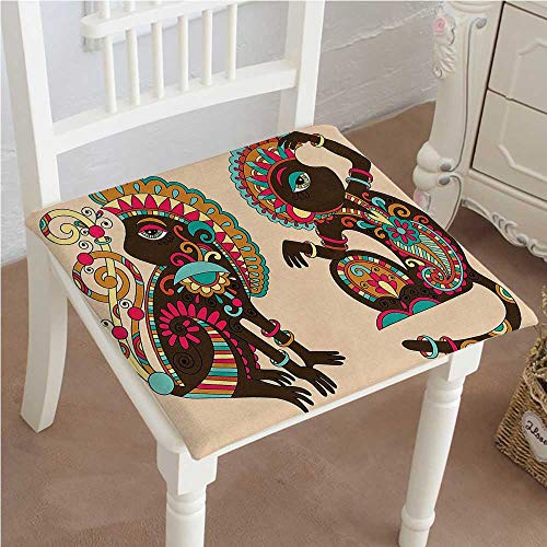 Dining Chair Pad Cushion Indian Ethnic Patterns on a Monkey Tailed Posing Animal Like Creatures Print Multicolor Fashions Indoor/Outdoor Bistro Chair Cushion 32''x32''x2pcs by Mikihome
