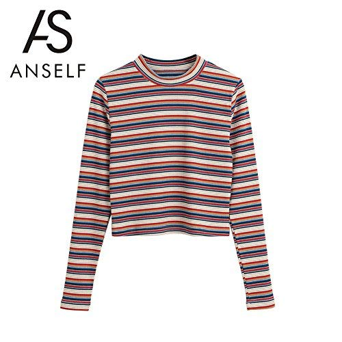 Anself Women Cropped Stripped Pullover Knitted Sweaters Shirts Ribbed Long Sleeves Sheath Stretchy Jumpers Crop Knitting Top