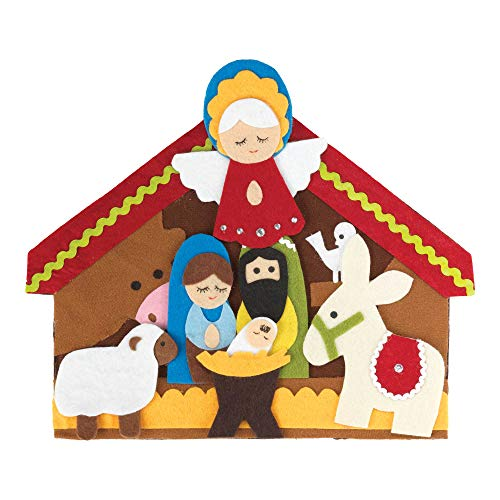 Dicksons Movable Nativity Festive 12 x 10 Polyester Felt Christmas Figurines Set of 7 -