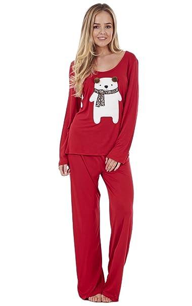 Ex Famous Store - Pijama De Señora Con Osito Cuadrado De Manga Larga, Color Rojo