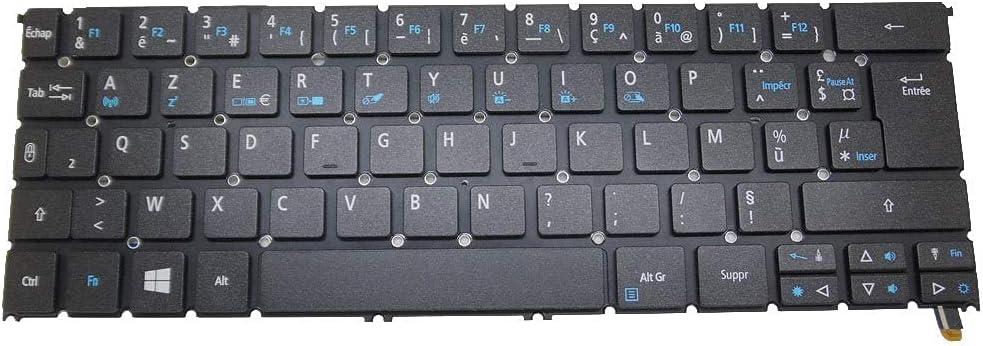 MTGJFDDFO Laptop Keyboard Compatible with ACER R7-371T MP-13C66F0J9201 AEZS8F00020 NK.I1213.02D Without Frame France FR Backlit New