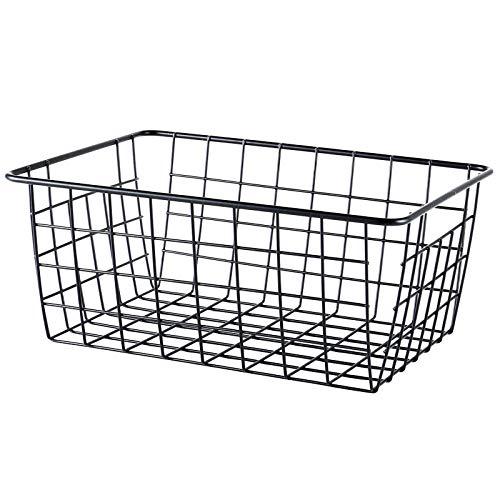Price comparison product image Clearance! Fheaven Storage Basket, Multi-Purposes Iron Wire Storage Basket Organizer Holder for Bath / Kitchen / Laundry Rooms (Black)