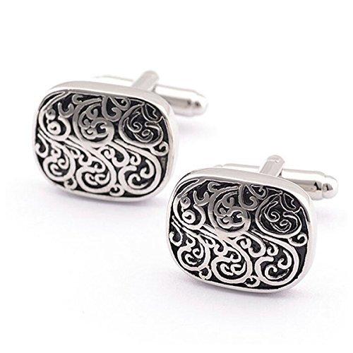 (UEETEK Pair of Unisex Vintage Floral Print Cufflinks Sleeves Buttons (Silver+Black))