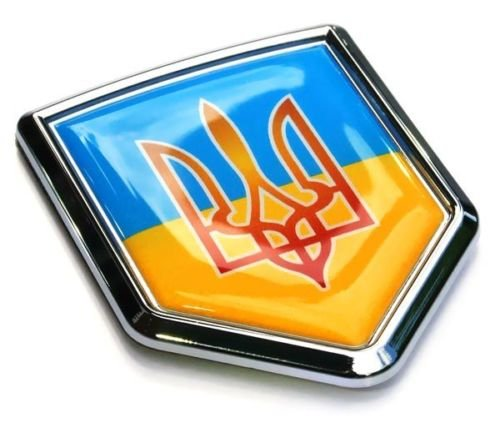 (Ukraine Flag Emblem Chrome Car Decal Tryzub Trident Car Chrome Decals CBSHD225)